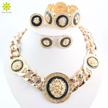 Fashion Vintage Jewelry Sets Lion Head Round Pendant Necklace Bracelet Earrings Ring 4Pcs /Set For Women(China)
