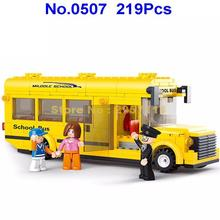 Sluban 0507 219pcs Yellow City School Bus Building Blocks Brick Toy(China)