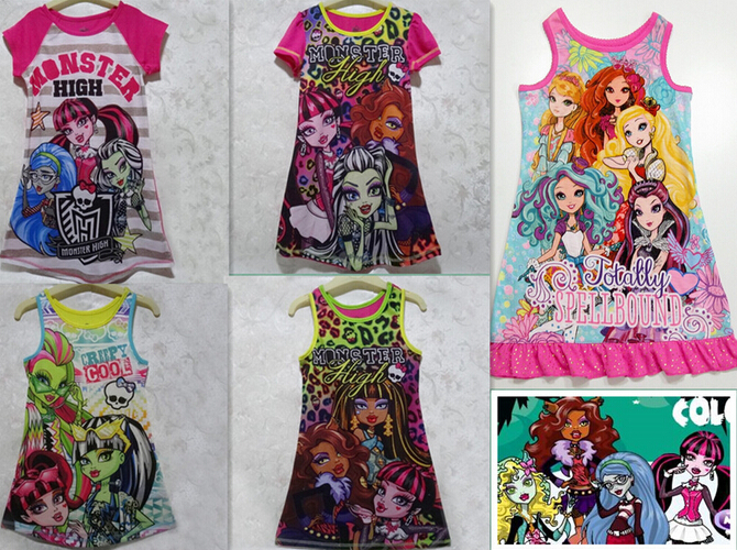 2016 New Monster Ella Princess Dress Children Dress Clothing for Girls Ever After High Monster Dress Cartoon Girls Clothes<br><br>Aliexpress