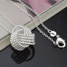 Drop shipping silver plated 18mm mesh ball pendant + rolo chain necklace for women,fashion women's jewelry,hot sell necklace