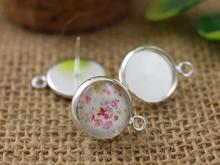 12mm 16pcs Silver Plated Earring Studs,Earrings Blank/Base,Fit 12mm Glass Cabochons,Buttons;Earring Bezels (L4-17)