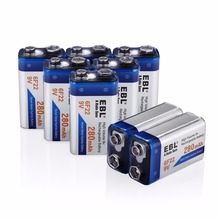 EBL 8 pack 6F22 280mAh 9v Rechargeable Batteries Ni-MH 9 Volt Replacement Battery for flashlight toys free shipping(China)
