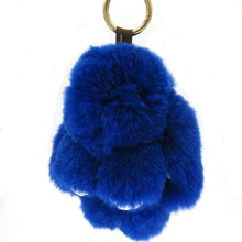 3pcs 8 color 14cm pompom real rabbit fur Keychain pumpon fluffy bunny rabbit keychain fit handbags bag Cars Trinket K00061(China)