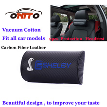 2pcs Hot sale car styling Carbon Fiber Leather Car rest protection Neck Pillow headrest sleep for shelby logo Auto accessories