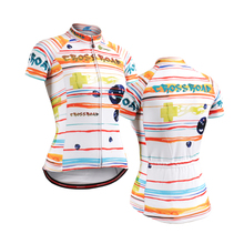 colorful striped Women's Cycling Jerseys clothing bicycle jersey Team bike bicycle Cycling jersey short sleeve Cycling wear(China)