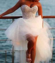 Vestido De Noiva Sexy 2016 New Unique Pearl Sweetheart White Tulle Short Front Long Back Wedding Dresses Bridal Wedding Gowns