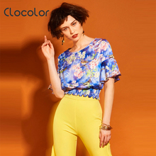 Clocolor Women Summer Shirt Butterfly Sleeve Floral Ruffles 2017 Vacation Round Neck Floral Summer Fashion Short Women Shirts(China)