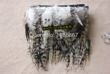 Wholesale!10yards/Lot Height 4-6inch Rooster Saddle Grizzly Feather Fringe Rooster plumes trim Natural Chinchila Color KX24