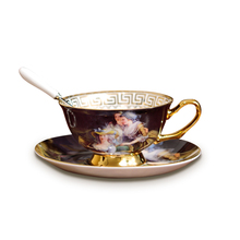 180ml Gold Plated Ceramic Bone China Porcelain Coffee Cup Set British Afternoon Tea Cappuccino Coffee Tea Cup Saucer with Spoon(China)