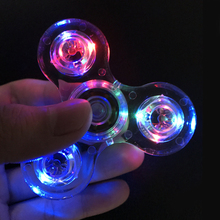 Transparent LED Light Hand Spinner Fidget Crystal Plastic EDC Switch Finger Tri-Spinner For Autism Relief Anxiety Stress Toys #E