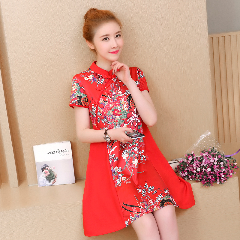 Summer Chinese Style Retro Cheongsam Short Qipao Large Size Loose Printed Chinese Traditional Dress for Women Girl Short Sleeve