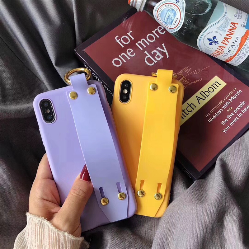 LUDI Vintage Wrist Strap Phone Case for iPhone 7 7Plus Case for iPhone X 6 6s 8 Plus Yellow Purple Black Plain Soft Silicon Capa4