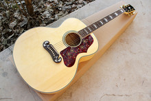 Factory custom natural wood color body G 43 inch acoustic guitar with red pearl pickguard,golden tuners,can be customized
