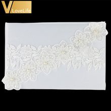 Wedding Decorations 25x16cm Wedding Guest Book Set with Lace Flowers Guest Signature Book for Banquet Party Decor Diy Gif(China)