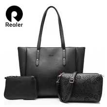 REALER brand 3 sets women handbag casual artificial leather tote bag large shoulder bags+ladies solid handbags+small purse(China)