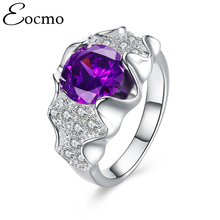 New wave design silver filled ring purple Cubic zirconia wedding rings luxury Brand created  jewelry Fine Gifts bague