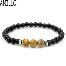 ANILLO  Unisex Black 6mm Natural Stones Beads Beaded Bracelet Men Women Casual/Sporty Yoga Jewelry 7 Color