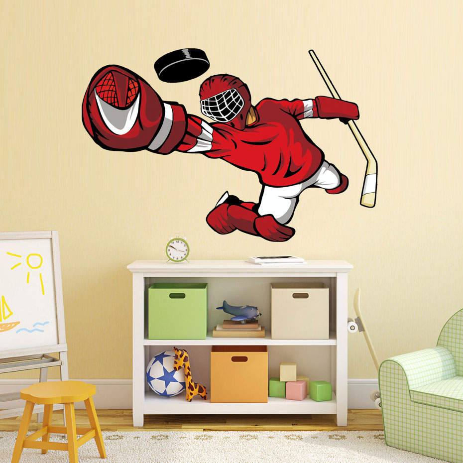 Hockey Player Wall Art Sticker 3d Sports Poster Boys Bedroom Hockey Wall Decal For Kids Room Home Decoration (2)