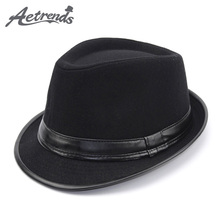 [AETRENDS] 2017 England Style Fedora Jazz Hat Men Vintage Wool Felt Winter Hat Panama Cap Z-5312()