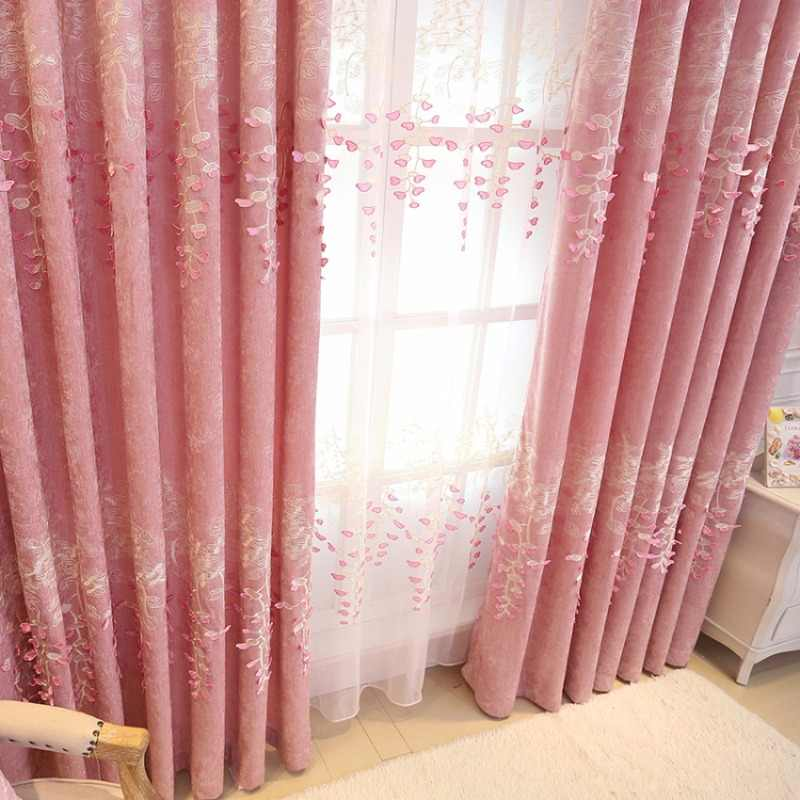 Floral Pink Voile Tulle Curtain for Girls Princess Room Curtain Living Room Blackout Window Bedroom Drapes Sheer Fabric T&189#30
