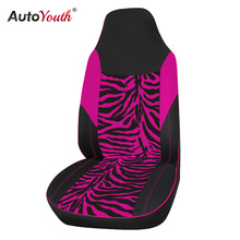 AUTOYOUTH Front Car Seat Cover Universal Fit for Most Bucket Seat Zebra Print Car-Styling Pink Car Accessories 1PC(China)