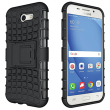 Cell Phone Cases Covers For Samsung Galaxy J3 2017 Bags Duos J327F PC TPU Hybrid Military Armor Kickstand Housing Bags Hood