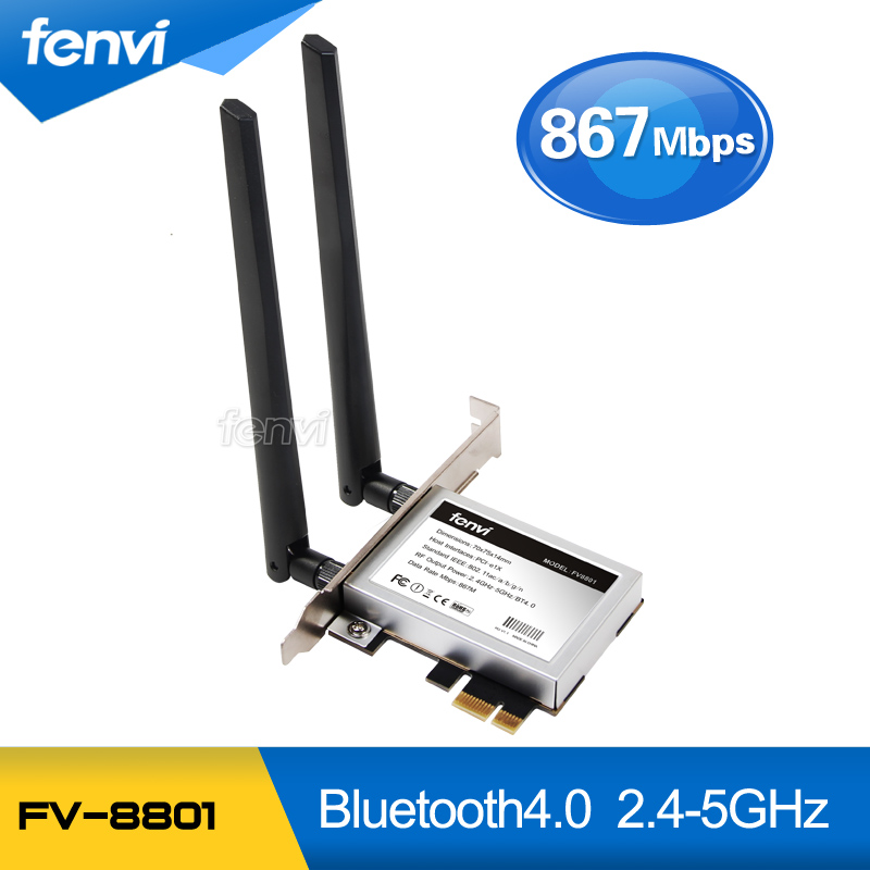 Fenvi Desktop Dual band 867Mbps 802.11ac Intel 7260 Wireless PCI-E Wifi Bluetooth Card PCI Express Antenna Adapter Wi-fi+BT 4.0<br>