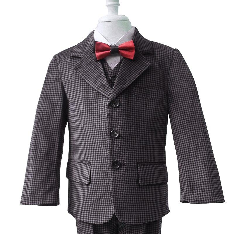 New fashion  Plaid Grey 3 piece boys suits clothings  V-neck  Boys Suits Blazers<br>