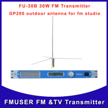 FMUSER Cantonmade CZH FU-30B 30W Professional FM radio transmitter wireless Broadcast audio station and GP200 outdoor antenna