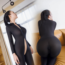 Sexy Sheer Vertical Stripes Wild High Zipper Open Crotch Elasticity Catsuit Playsuit Bodysuit Tights Package Hip Teddies Onesie