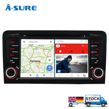 A-Sure 2GB RAM Free Map Android 7.1 Car DVD GPS For Audi A3 S3 RS3 2002-2011 With Wifi 3G GPS Navigation BT Radio SWC OBD DAB+(Hong Kong)