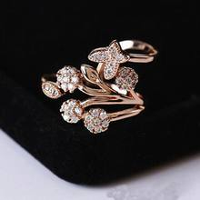 Micro Pave Crystal Butterfly Flower Rings Fashion Elegant Jewelry Accessories For Women Bijoux Cute Gift