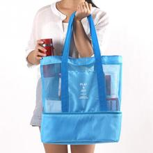 Thermal Insulation Bag Handheld Lunch Bag Insulated Cooler Picnic Bag Mesh Beach Tote Bag Food Drink Storage Blue