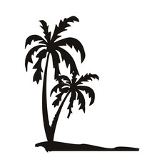 PVC Waterproof Seaside Palm Tree Wall Decal Printed Scenery Wall Mural Sticker Home Decor Livingroom Wall Stickers(China)