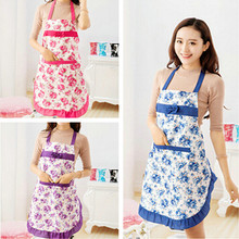 Convenient Women's Waterproof Housewife Kitchen Waist Aprons Jeanette Floral(China)