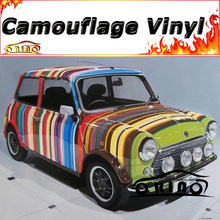 Car Styling Rainbow Camo Wrapping Vinyl Camouflage Car Wrap Sticker Film Motorcycle Bike Truck Vehicle Body Covers Wraps