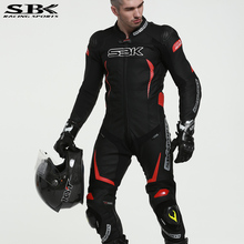 SBK MFJ Certification Motorcycle Racer 1PC Suit Motocross Racing One Piece Cowhide Leather Conjoined Jacket and Pants Men Women(China)