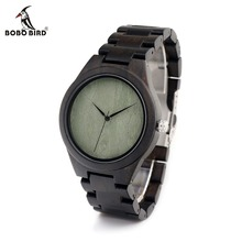 BOBO BIRD CdH04 Mens Wooden Watch Full Ebony Casual Fashion Green Dial Face Quartz Movement Montre Homme in  Gift Box  OEM