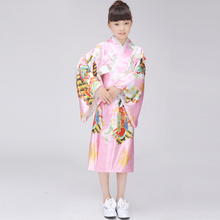 Fashion Pink Japanese Baby Girl Kimono Cute Kid Yukata With Obi Girl Dance Costumes Child Evening Dress Quimono One Size L3K01A