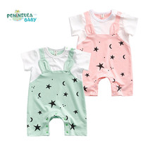 Stars Print Baby Rompers Summer Style Short Sleeve Coverall Cotton Jumpsuit Newborn Boys Girls Clothing Infant Costume