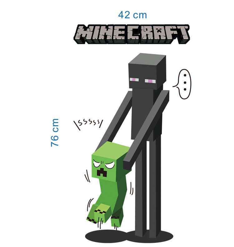 HTB1541VcUMgYeJjSZFGq6xsMXXae - Newest Minecraft Wall Stickers 3D Wallpapers Kids Room Decals Minecraft Steve Home Decoration Popular Games Home Free Shipping