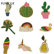 FUNIQUE Cute Mini Women's Brooch Pins Unicorn Cactus Ice Cream Enamel Women Collar Badges Clothes Brooches Pin Accessory Jewelry