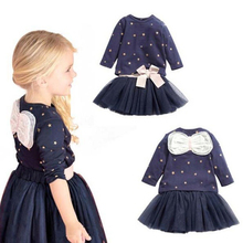 2017 Direct Selling Rushed Ins Fashion Bow Dot Style 1-6t Kids Baby Girls Sleeve Dresses Cotton Lace Deasgin Summer Dress For