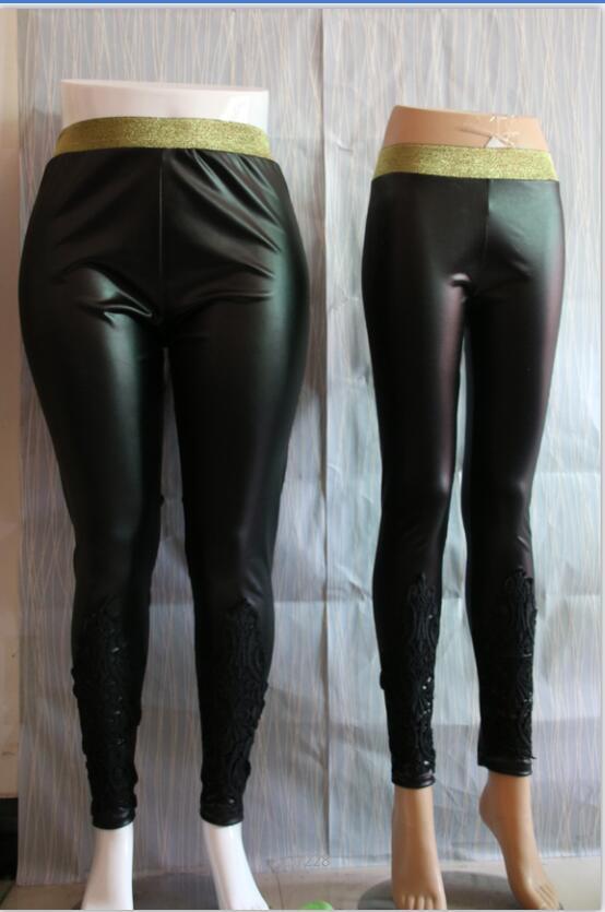 Faux Leather Leggings, Women's Lace Decoration Legging 9