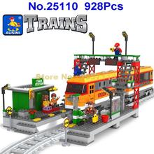 AUSINI 25110 928pcs Passenger Station locomotive Train Railway Building Block Brick Toy(China)