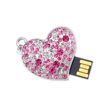 HOT-Pink 8GB Clear Crystal Heart Style USB Flash Drive Memory With One Chain(China)