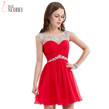 Vestido de Festa Curto Boutique Crystal Beaded See Through Neck Short Red Cocktail Dress Elegant Party Dresses