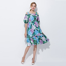 Custom Plus Size Clothing S-7XL 2017 Summer Newest Spaghetti Strrap Slash Neck Hydrangea Print Knee-Length Dress Women(China)
