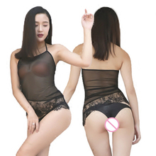 Sexy Backless See Through Lace UP Halter Short Vest Mesh Transparent Bottom Wear Lace Tanks Top Camis Erotic Lingerie Club Wear(China)