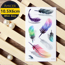 Waterproof Temporary Tattoo Sticker on body art 3D color feather women tattoo Water Transfer fake tattoo flash tattoo for girl